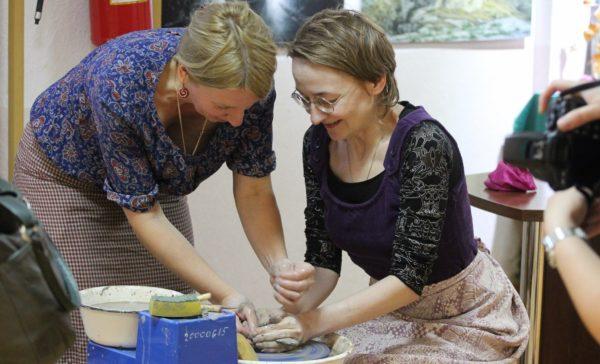 Мастер-класс по гончарному искусству провели в Доме культуры. Фото: ДК «Воскресенское»